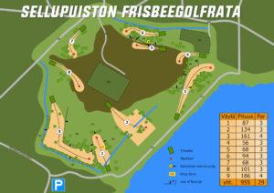 Sellupuiston Frisbeegolfrata ratakartta